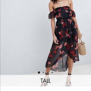 Off the shoulder midi floral dress!